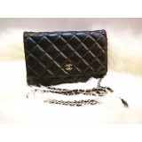 CHANEL Lambskin Black Wallet On Chain