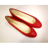 CHANEL Red Flats Shoes With Bow (Size:39C)