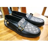 LOUIS VUITTON Black Mini Lin & Leather Loafer (Size:35 1/2)