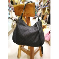 GUCCI Black Horsebit Canvas & Leather Hobo Bag