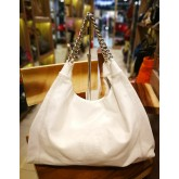 CHANEL White Shoulder Full Leather Bag