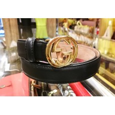 GUCCI Belt Black Leather Gold Buckle (S:85/34)