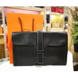 HERMES Jige Black Calfskin Leather H Flap Clutch