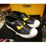 FENDI Monster Black Leather Flats Sneakers (S:37)