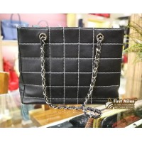 CHANEL Vintage Black Leather Shoulder Bag