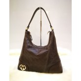 GUCCI Leather Heart Shaped Interlocking G Hobo Bag