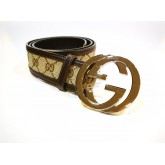 GUCCI Belt GG Buckle Brown Beige (S:95/38)