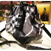 BURBERRY Black Beat Check Lowry Canvas Tote