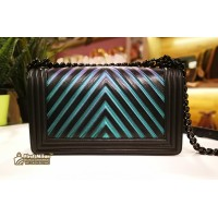 CHANEL Black Iridescent Chevron Old Medium Boy Bag
