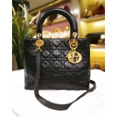 CHRISTIAN DIOR Lady Dior Medium Black With GHW