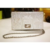 FENDI Embossed Silver Wallet On Chain
