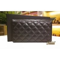 CHANEL Black Quilted Ligne Cambon Tri-Fold Wallet