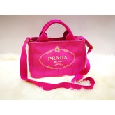 PRADA Canapa Small Shopping Tote