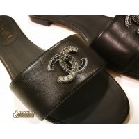 CHANEL Black CC Logo Sandals (S:361/2)