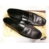 LOUIS VUITTON Black Leather Racetrack Loafers (S:10.5)