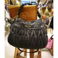 MIU MIU Matelasse Black Lux Leather Tote