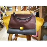 CELINE Calfskin Suede Medium Tri-color Trapeze