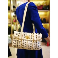 MIU MIU White Ivory Leather Studded Shoulder Tote