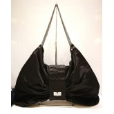 CHANEL Satin Bow Shoulder Bag Black
