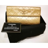 CHANEL Metallic Gold CC Button Long Wallet