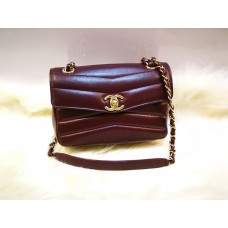 CHANEL Lambskin Quilted Small Chevron Burgundy