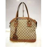 GUCCI GG Fabric W/ Leather Tote (W/O Strap)