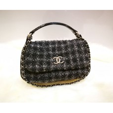 CHANEL CC Flap Satchel Quilted Tweed