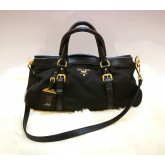 PRADA Tessuto Nylon Calf Leather Top Handle Tote