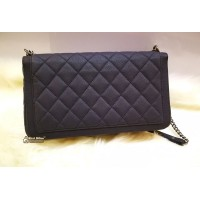CHANEL Washed Caviar Quilted Large Turn Around Ligne Flap