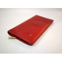 CHANEL Camellia Red Caviar Wallet