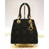 CHRISTIAN DIOR Cannage Canvas Top Handle Tote