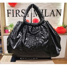 CHANEL Metallic Nylon CC Black Tote Bag