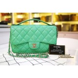 CHANEL Green Elaphe Easy Carry Flap Bag In Phyton