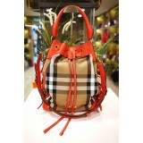 BURBERRY Bridle House Check Hobo Bag