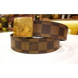 LOUIS VUITTON Damier Ebene Square Belt (Size:85/34)