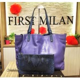 GUCCI Violet Leather Craft Medium Tote With Pochette