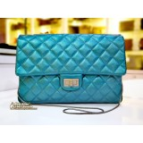CHANEL Teal Metallic 2.55 Single Flap Bag