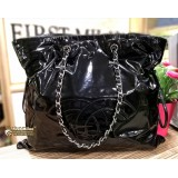 CHANEL Patent Black Leather Shoulder Bag