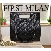 CHANEL Black Calfskin Leather Two Way Shoulder Bag