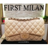 CHANEL Jumbo Lambskin Double Flap Bag with Gold Hardware