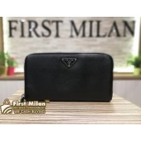 PRADA Saffiano Zip Around Nero Wallet