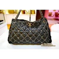 CHANEL Nylon Quilted Tweed On Stitch Bubble Bag