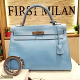 HERMES Kelly 32 Epson In Celeste Colour